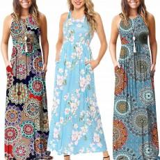 Slim Elegant Long Skirt Summer Elasticity High Waist Women's Flower Print Sleeveless Dress With Pockets Beach Dresses For Ladies