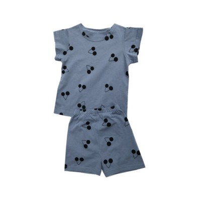 Comfortable Home Clothes Cherry Pattern Short Sleeve Tops Shirts and Shorts Outfits for Kids Girl Boy
