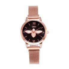 Trendy Bee Pattern Quartz Watch with Stainless Steel Mesh Band Elegant Style for Women