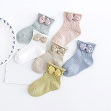 Cute Baby Socks Soft and Comfortable Combed Cotton Bowknot Socking for Girl Baby Clothes Match