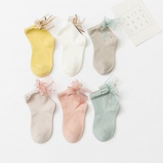 6 Pairs Full Cotton Baby Socks Colorful Mesh Bow Lace Socking Flower Brim Anti-Slip Baby Girl Sock