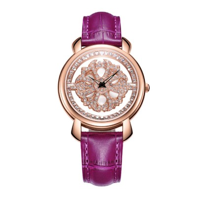Diamond-encrusted Hollow-out Rotation Watch for Ladies Waterproof Japanese Quartz Movement Wrist Watch