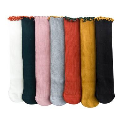 Korean Style Knee High Socks Cute Bowknot Cotton Knit Dress Socks Ruffled Shape Baby Stocking for Girls