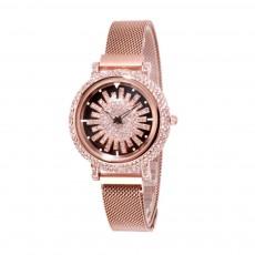 Stylish Quartz Watch with Large Glass Dial Diamond Mounted Watch 360 Degree Rotation Milanese Mesh Strap Wristwatch for Women