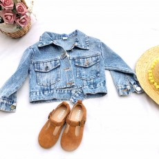 Classic style Denim Jacket Long Sleeve Clothes Fashionable Children Garment with Two Pockets for Girls