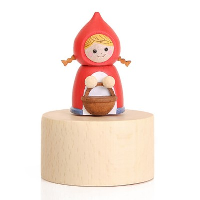 Wood Rhyme Box Mini Lovely Cartoon Design Manual Rotating Music Box Small Size Decorative Handiwork Gift for Children Family Lovers