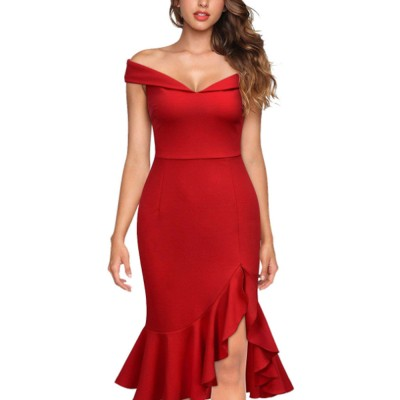 One-piece Women Evening Dress Formal Dress Sexy V Collar Off -shoulder Irregular Fishtail Skirt