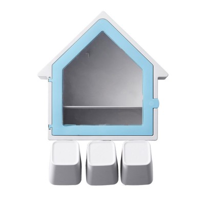 Creative Wall-mounted House-shaped Toothbrush Holder Multifunctional Three-Population Home Rinse Cup Set