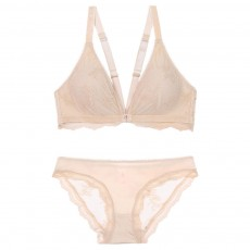 Autumn New French Style Front Buckle Wire-free Bra Suit Lacework Thin Style V Shape Sexy Beautiful Back Underwear Inner Brad Pad Included