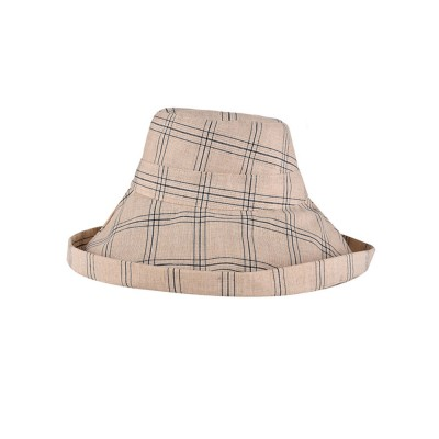 Lady Outdoor Sunhat Polyester Material Breathable Topee Detachable Stripe Hat for Women Beach Sun Block Outside Activities Cap