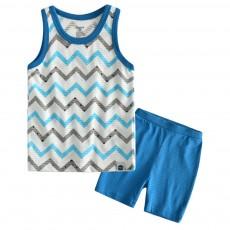 Pure Cotton Sleepwear Suit with Cartoon Patterns for Children, Summer Unisex Loungewear & Pajamas Short Sleeve Underwear Suit for Boys Girls