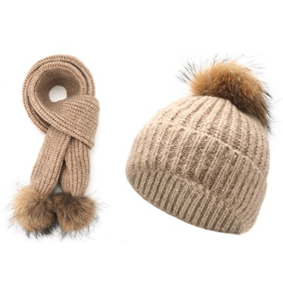 Thickened Two-piece Set Winter Hat Scarf for Lady Autumn Winter Thermal Knitted Twinset for Student Outdoor Use Knitted Thermal Products