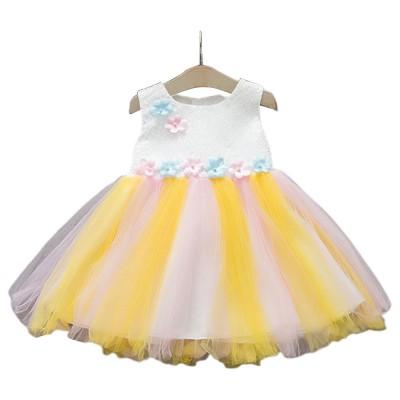 Rainbow Color Princess Skirt for Girl Kids, Summer Wear Korean Style Sleeveless One-piece Dress Princess Skirt for 1-3 Years