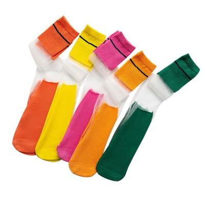 Children's Heelless Medium Length Socks Fashionable Thin Glass Silk Socks For Summer