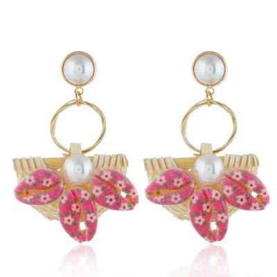 Natural Ocean Style Earring Colorful Outfit Accessory Jewelry Shell Rattan Pearl Earring for Women Girls