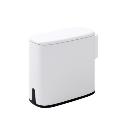 Plastic Trash Can with Lid and Garbage Bag Retainer, Space Saving Trash Bin for Kitchen Bathroom Living Room
