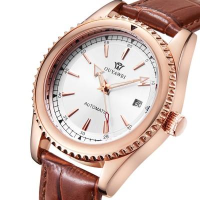 Man's Automatic Mechanical Watch Night Light Waterproof Business Hollow Steel Band Wristwatch, Swiss Wristwatch with Calendar