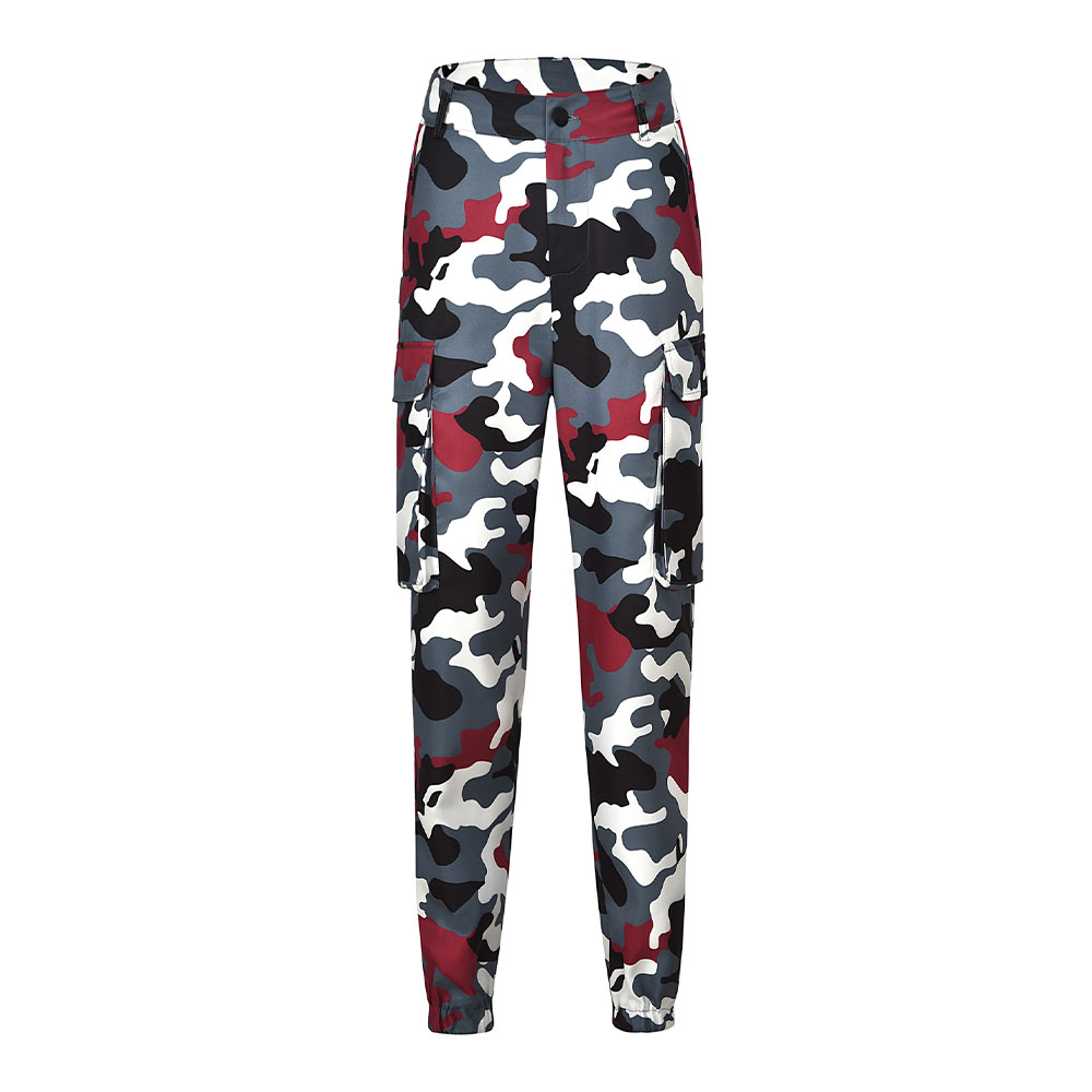 Overalls Camouflage Pants for Women Fashion Europe and America Style Big Pocket Sports Casual Pants 2018 (No Belt)