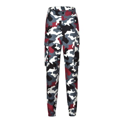 Overalls Camouflage Pants for Women Fashion Europe and America Style Big Pocket Sports Casual Pants (No Belt)