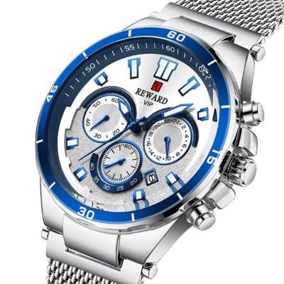 3 Dials Sports Quartz Watch with Adjustable Stainless Steel Watchband, Waterproof Fashion Accessories Wrist Watch for Men