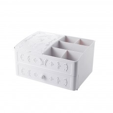 Cosmetic Storage Box with European Stereo Pattern, Dustproof Makeup Organizer with Cover for Skin Care Products