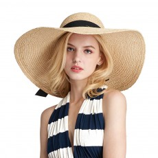 Lightweight Raffia Hat Breathable Topee Fashionable Bow Knot Sunhat Sunscreen for Women Beach Outside Activities Cap