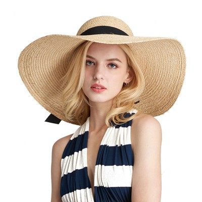 Lightweight Raffia Hat Breathable Topper Fashionable Bow Knot Sunhat Sunscreen for Women Beach Outside Activities Cap