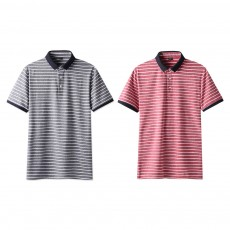 Men's Casual Short-Sleeved Polo Shirt Korean-Style Fashionable Striped Shirt For Summer
