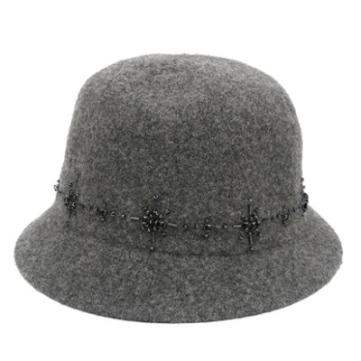 British Style Thermal Bucket Hat for Women Autumn Winter Wool-made Vintage Top Hat Round Top Revers Bowler Hat