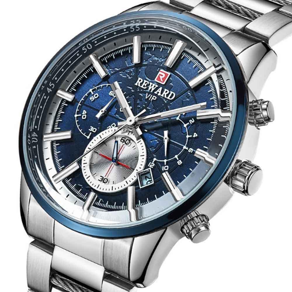 2019 Men's Sports Quartz Watch with Stainless Steel Watchband, Butterfly Clasp, Night Luminous Wrist Watch