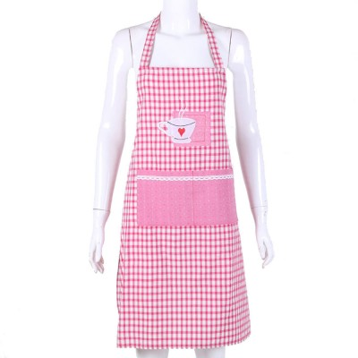 Embroidered Check Pattern Household Kitchen Apron Antifouling Waist Cloth Pinafore
