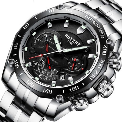 Automatic Mechanical Watch for Businessman, Stainless Steel Watchband Fashion Watch, Waterproof Sports Wrist Watch