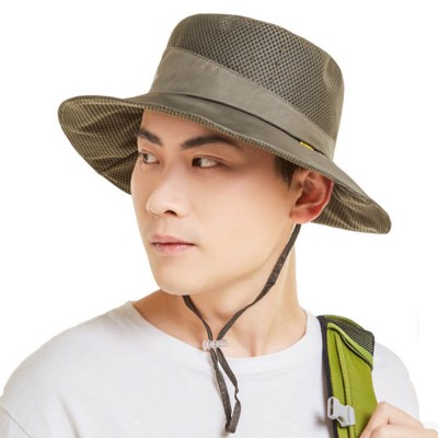 Outdoor Sunhat for Outdoor Enthusiast, Colorful Option Flat Brim Fisherman Hat, Wind Rope Buckle Quick Drying Flat Brim Cap
