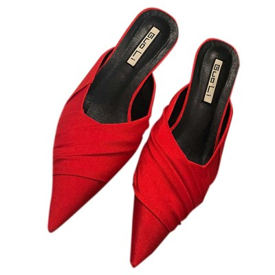 Pointy Shoes for Women, Low-heeled Waterproof Platform Sandals, Leather Material without Heelpiece Slippers