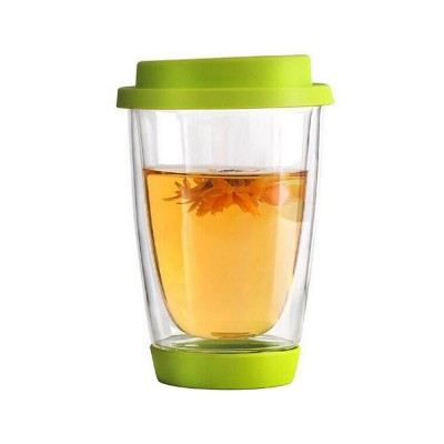 Transparent Glass Thermos Cup Multicolored Heat-resistant Double Walled Insulated Mug Glass Cup with Cover Best Gift