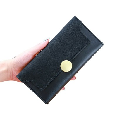Lady Purse Retro Matte Ladies PU Leather Wallets Women Fashion Long Travel Clamshell Purse Clutch