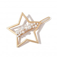 Creative Shape Hairpin Imitated Pearl Alloy Glossy Hair Grip for Girls Gold-plated Hair Accessories Starry Tuck Comb Side Hair Clip 2019