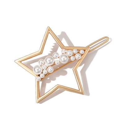 Creative Shape Hairpin Imitated Pearl Alloy Glossy Hair Grip for Girls Gold-plated Hair Accessories Starry Tuck Comb Side Hair Clip 2020