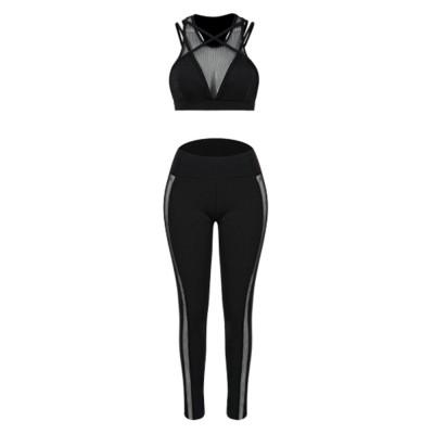 Fashion Sexy Women Two Piece Sport Bra Pants Yoga Fitness Hip Pants Set Cross Straps Hollow Matching Mesh Lady Wear Set