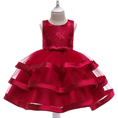 Female Flower Skirts Kids Girls Flower Wedding Dress, Multi-layer Mesh Gauze skirt, Multi-layered Show Dress Party Suit