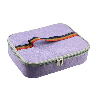 Canvas Lunch Bag Stainless Steel Plastic Heat Preservation Compartments Large Middle Small Size Lunch Box Bag for Student