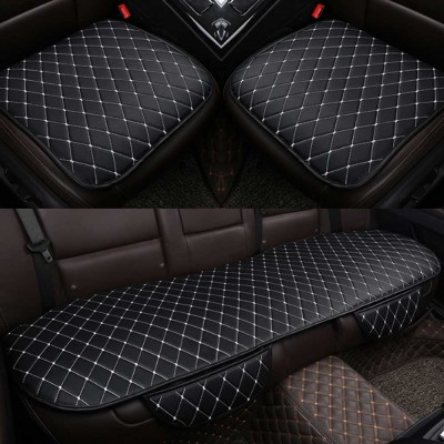 Tie-free Car Seat Cushion Four Seasons Universal Without Backrest Three-piece Black And Red Line Diamond-Shaped Sewing Sewn Single Cushion Cover
