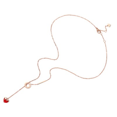 Heart Shape Strawberry Necklace Wear Resistant Lustrous Titanium Steel Clavicle Necklace Stainless Steel Jewelry Online Bestseller Minority Design Necklace