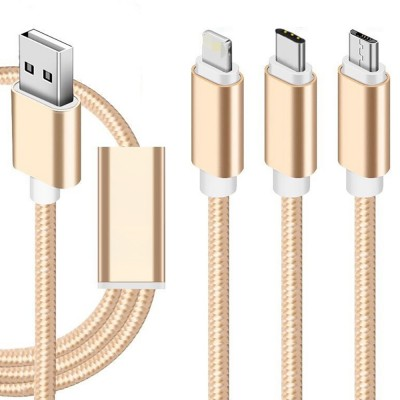 Tinkleo 3 in 1 Multifunctional Nylon Braided 2A Charger Cable 100cm for Android Type C USB