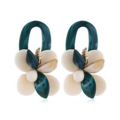 Retro Exaggerated Earrings Shell Coral Multilayer Earrings Acrylic Hoop Pendants Gifts for Women