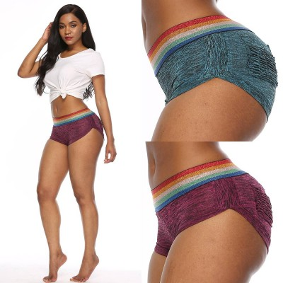 Women Sports Shorts High Waisted Rainbow Striped Short Pant Butt Lifting Breathable Workout Running Yoga Shorts with Pockets