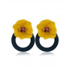 Retro Earrings for Women Flower Ear Jacket Zinc Alloy Stud Round Hoop Statement Earrings Gifts for Women