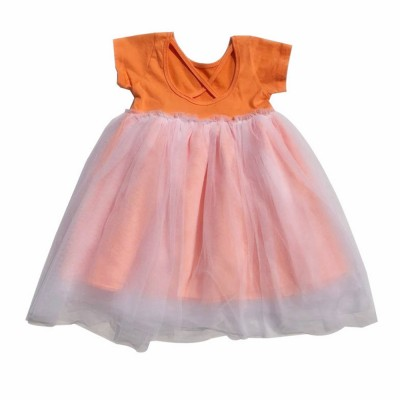 Hollow-back Dress for Girls, Tulle Skirt Patchwork Dress, Short Sleeves Dress for 3- 8 Years Girl
