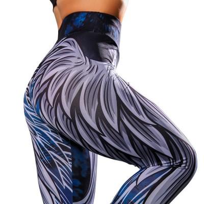 High Waist Yoga Pants Tummy Control Workout Leggings Digital 3D Wing Print Cropped Leggings for Women