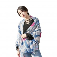 Korean Cotton Scarf for Women, Graffiti Pattern Larger Size Shawl, Multi-function Wide Range Printing Scarf